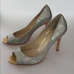 Enzo Angiolini 7.5M silver sparkly peep toe heels